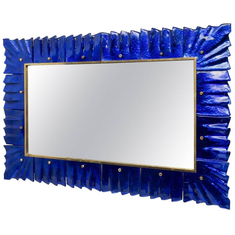 Mirror with Murano Art Glass Frame, Italy, 1980