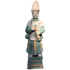 Important Monumental Ancient China Ming Tomb Umbrella Man Sculpture, 1368-1644