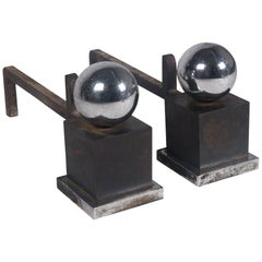 Pair of Adnet Style Chrome Ball Andirons, French, 1950s
