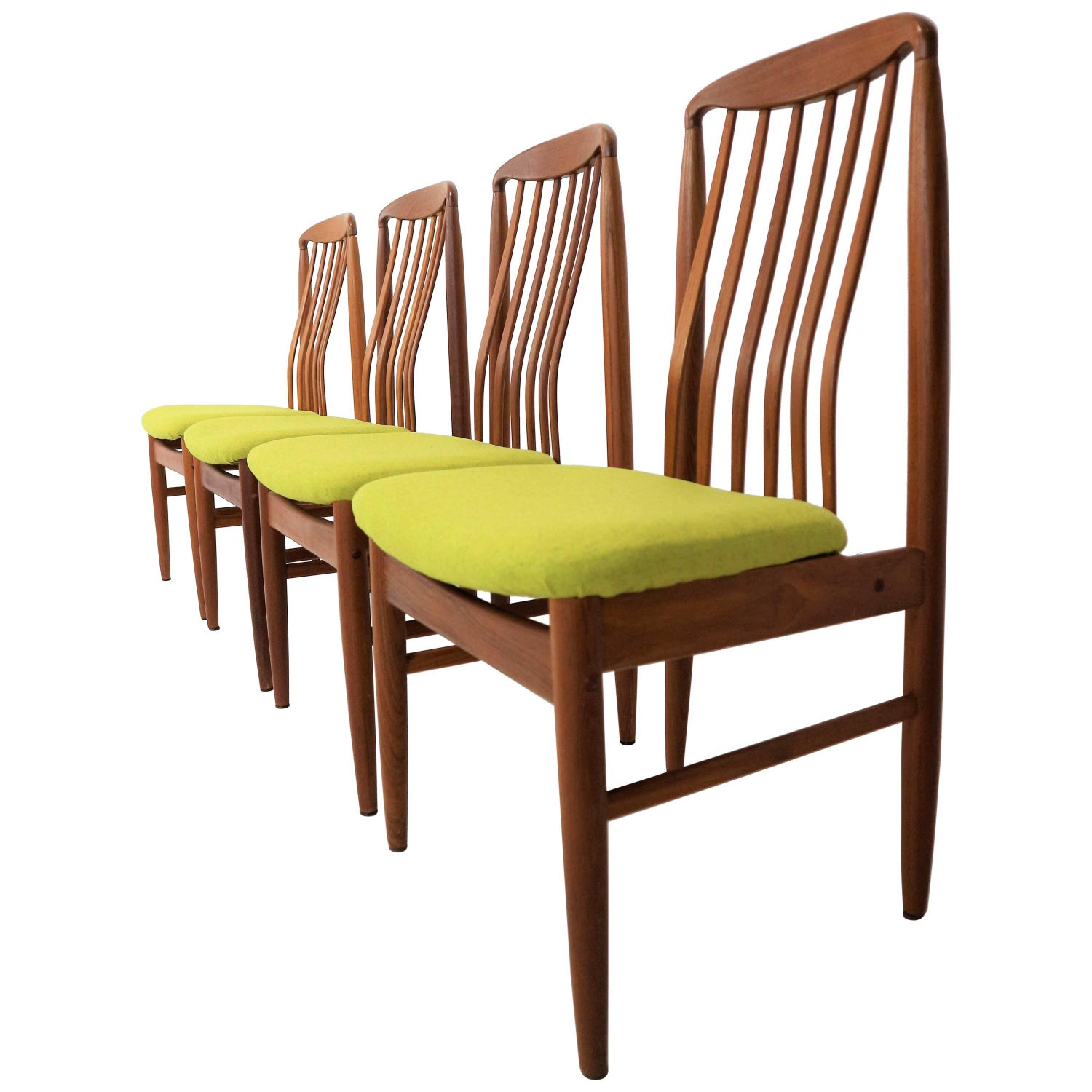 Six Danish Modern Teak Dining Chairs by Benny Linden For Sale at