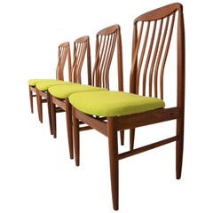 Four Danish Modern Teak Dining Chairs by Benny Linden