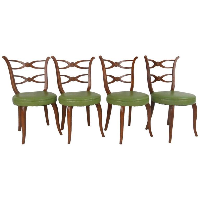 Set of Four Mid-Century Modern Italian Dining Chairs