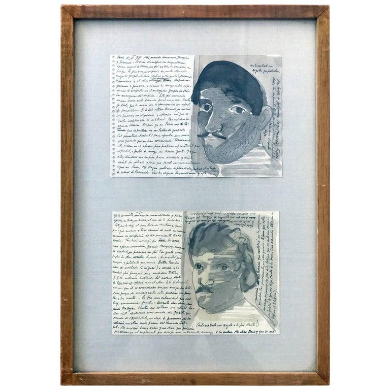 Pair of Works on Paper by Jose Luis Cuevas, framed