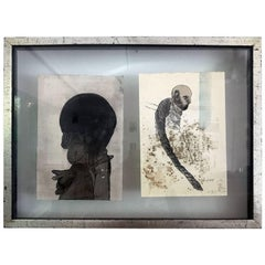 Framed of Two Work on Paper by Jose Luis Cuevas