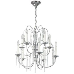 Italian Chrome and Crystal Ten-Arm Waterfall Chandelier
