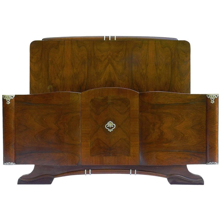 Mid-Century Bed French Walnut US Queen UK King-Size Hollywood, circa 1930-1940