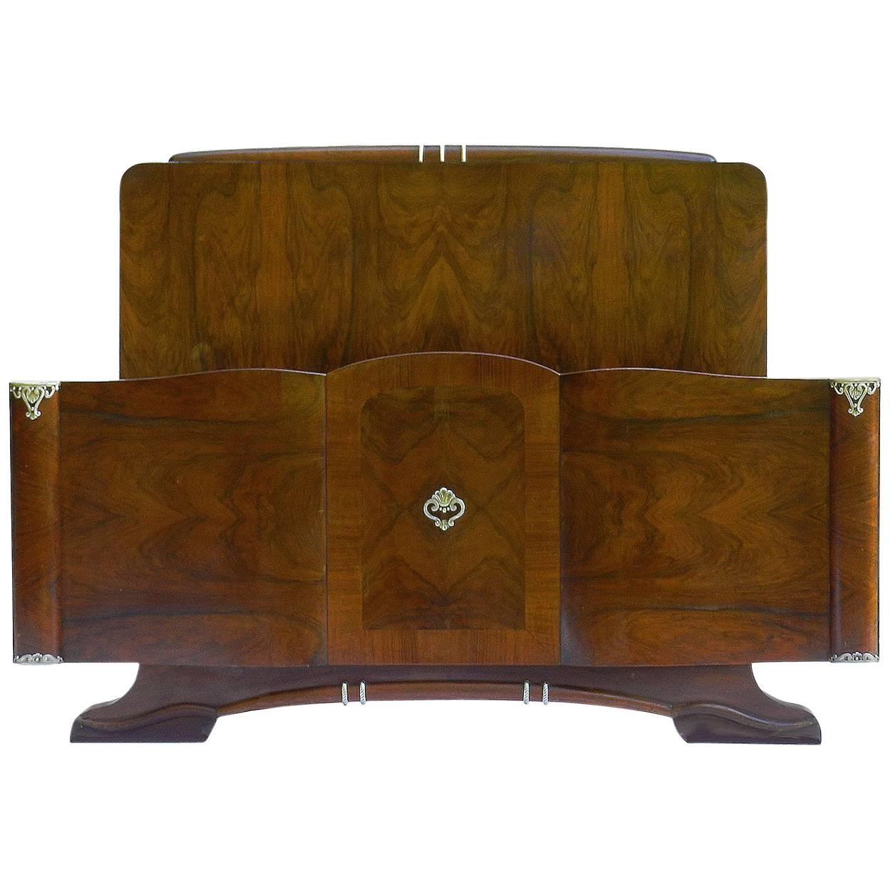 midcentury bed french walnut us queen uk kingsize hollywood circa