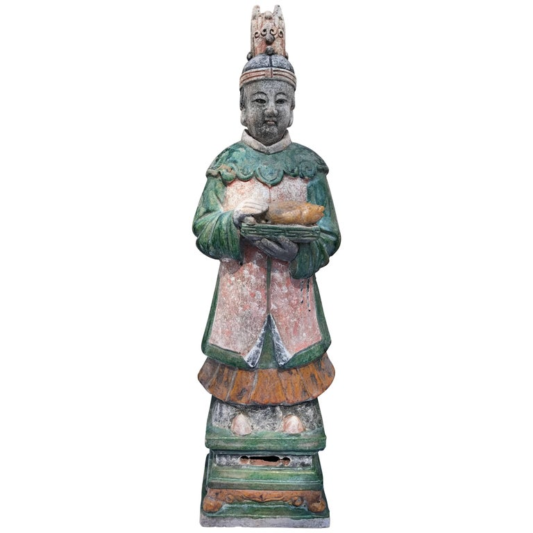 "Important Ancient China 26"" Tall  Imperial Ming ""Fish"" Servant, 1368-1644 For Sale"