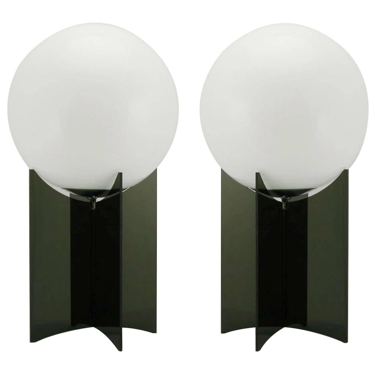 Pair of Smoked Acrylic and Milk Glass Table Lamps For Sale at 1stdibs