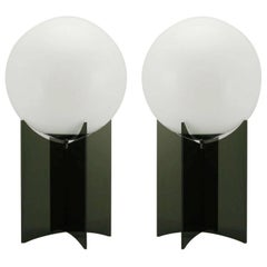 Pair of Smoked Acrylic and Milk Glass Table Lamps