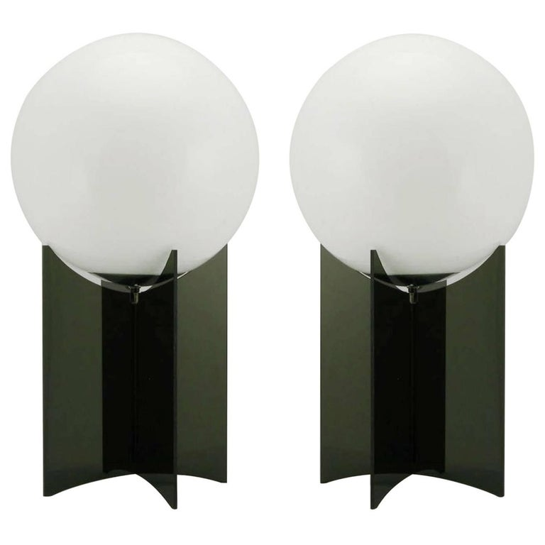 Pair of smoked acrylic and milk glass table lamps for sale at 1stdibs pair of smoked acrylic and milk glass table lamps for sale mozeypictures Choice Image