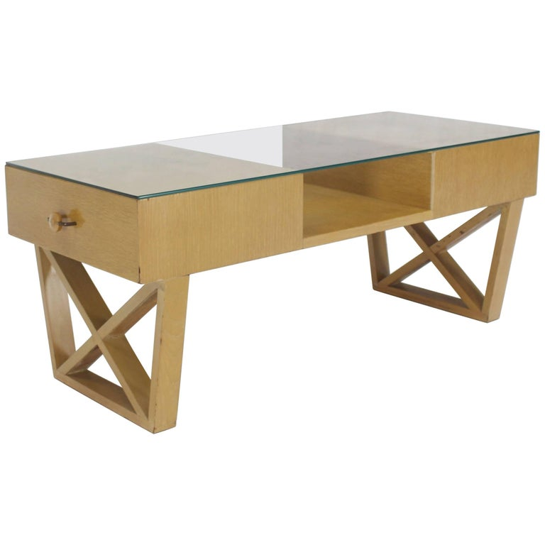 Blond cerused oak glass top x base rectangular coffee for Coffee table with storage and glass top