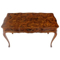 Patch Burl Wood Work Medium Size Low Profile Floating Desk Writing Table Drawers
