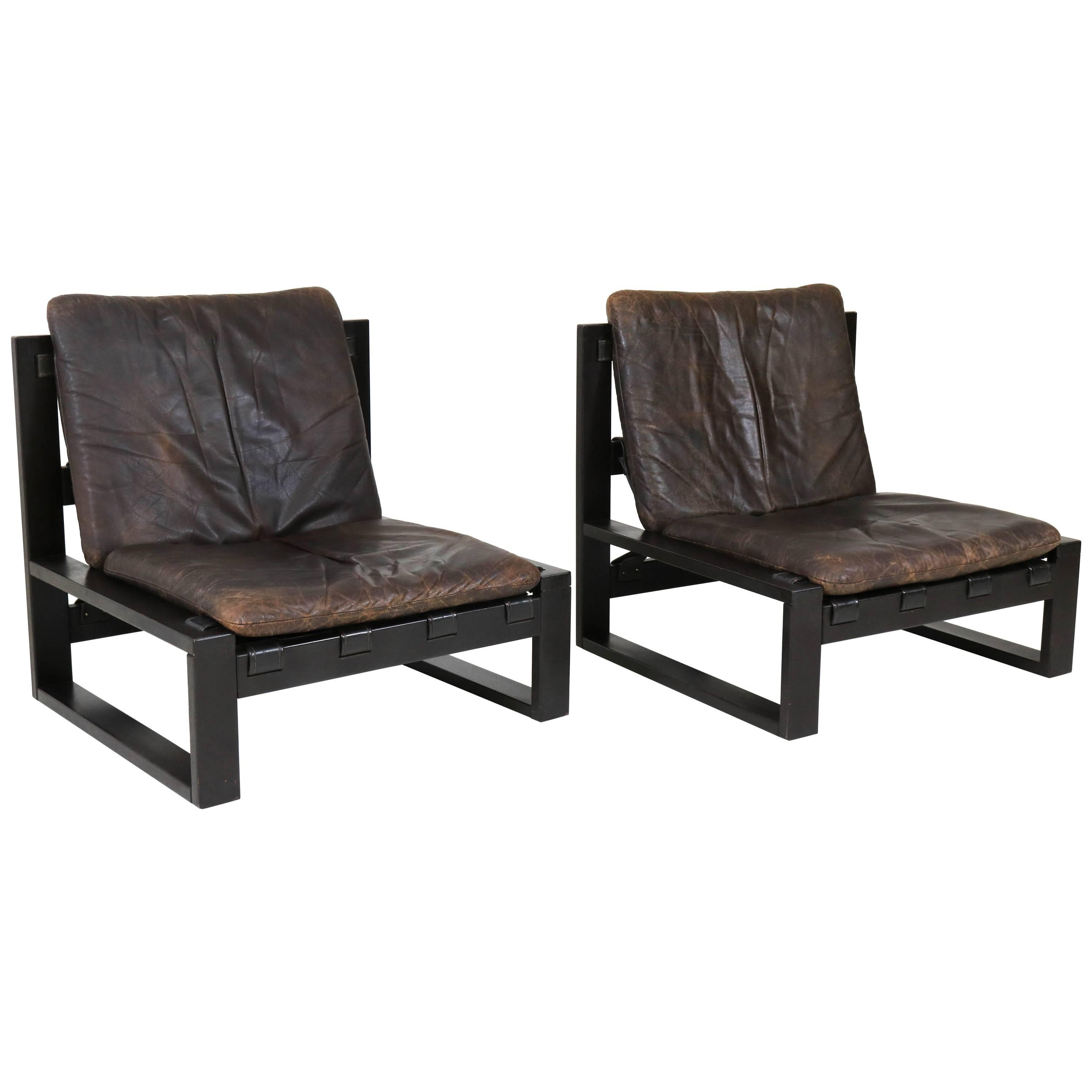 Pair Of Dutch Mid Century Modern Brutalist Lounge Chairs By Sonja Wasseur,  1970s