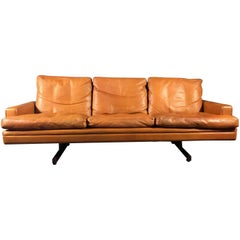Fredrik A. Kayser Three-Seat Leather and Rosewood Sofa, Norway, 1960s