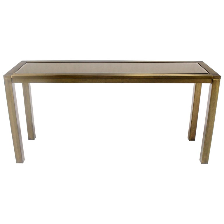 Brass Smoked Glass Rectangular Console Table For Sale At
