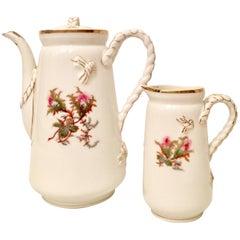 "Vintage Haviland Limoge France ""Moss Rose"" Coffee Pot & Creamer Three-Piece Set"