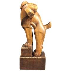 1920s Ukko Talvi Art Deco Wood Sculpture, Finland