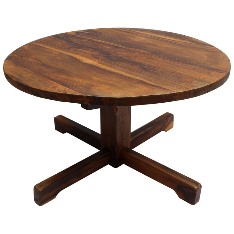 French 1950s Solid Olive Tree Round Pedestal Dining / Center Table