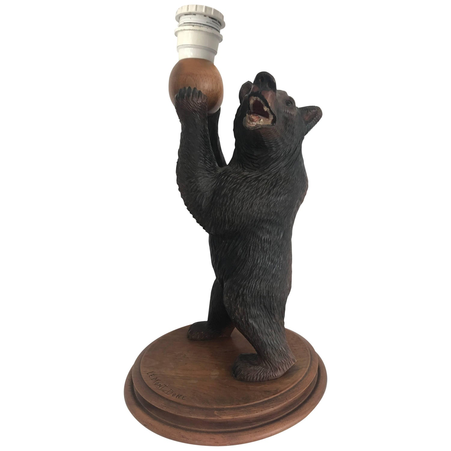 Black forest table lamps 9 for sale at 1stdibs rare amp practical size early 1900 black forest standing bear table or desk lamp geotapseo Choice Image