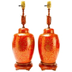 Pair of Orange and Gilt Chinese Famille Verte Ginger Jars, Now as Lamps
