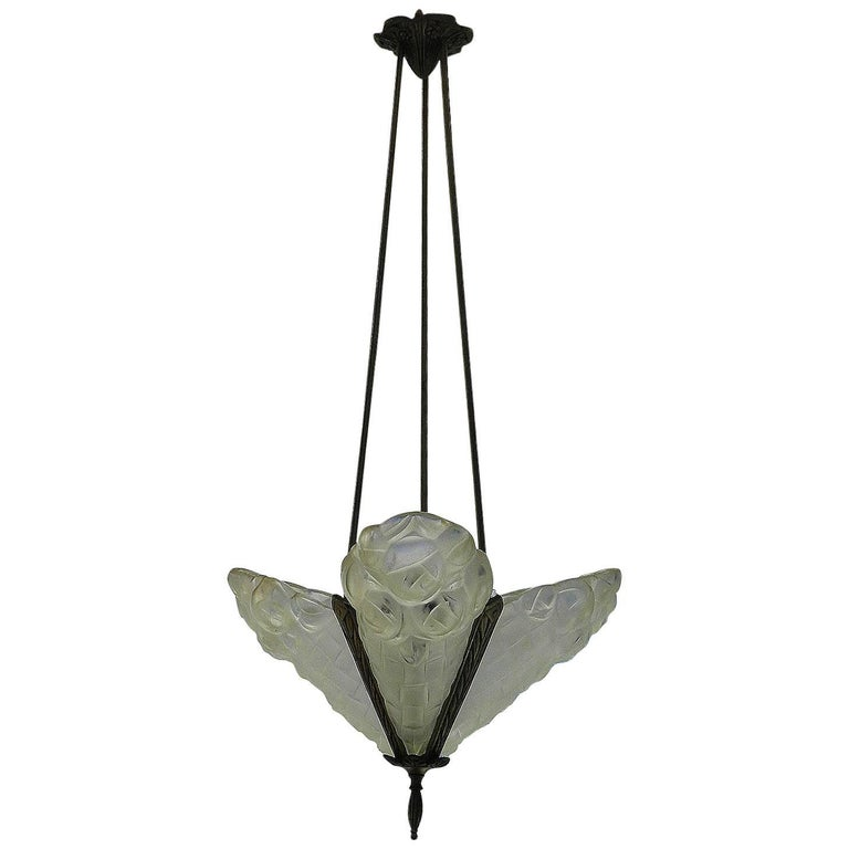 Art Deco Chandelier Pendant Light Signed Degue French Glass, circa 1930