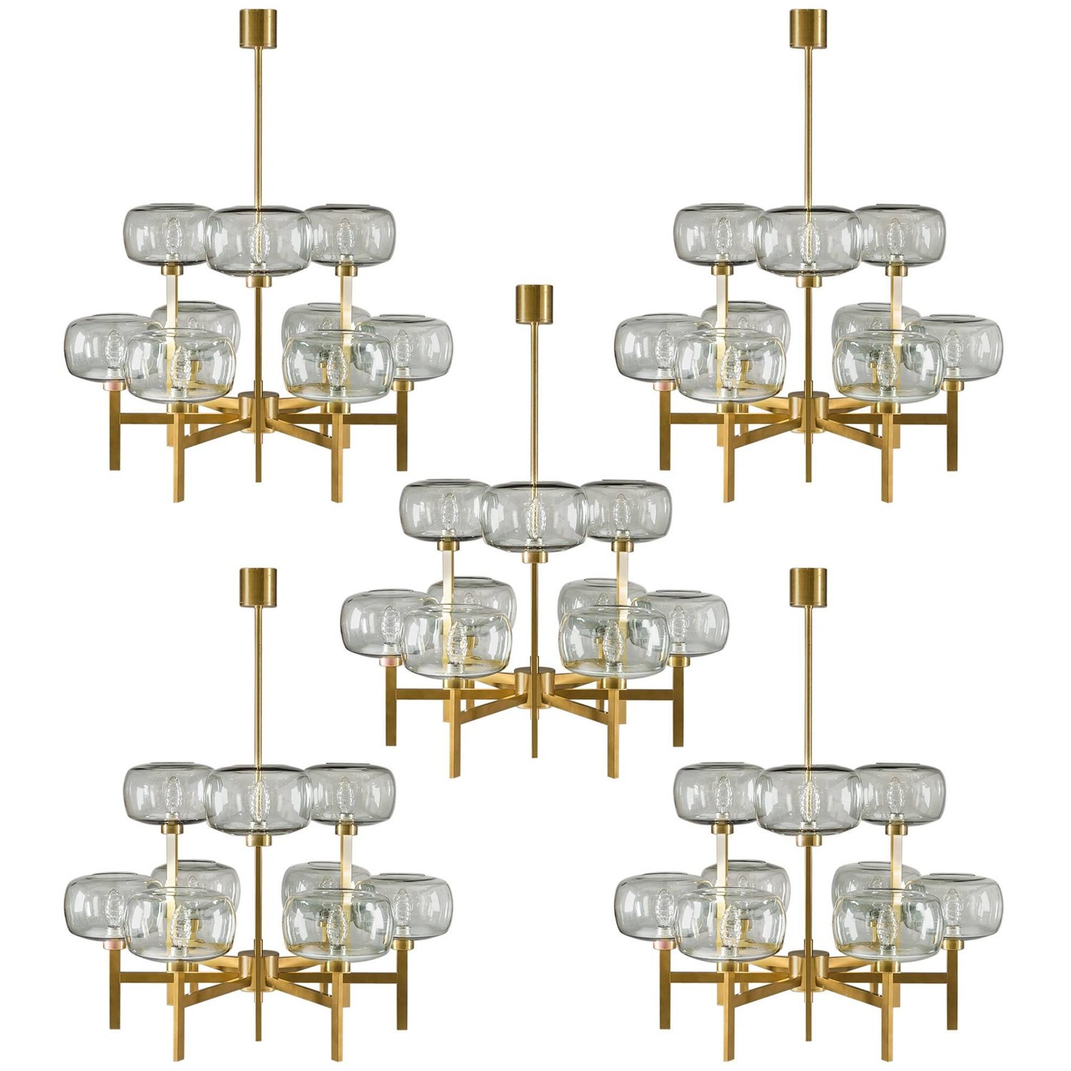 Large swedish chandelier in brass and glass by holger johansson five swedish chandeliers in brass and glass by holger johansson arubaitofo Gallery