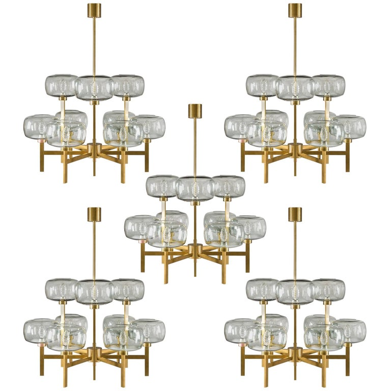 Five Swedish Chandeliers in Brass and Glass by Holger Johansson