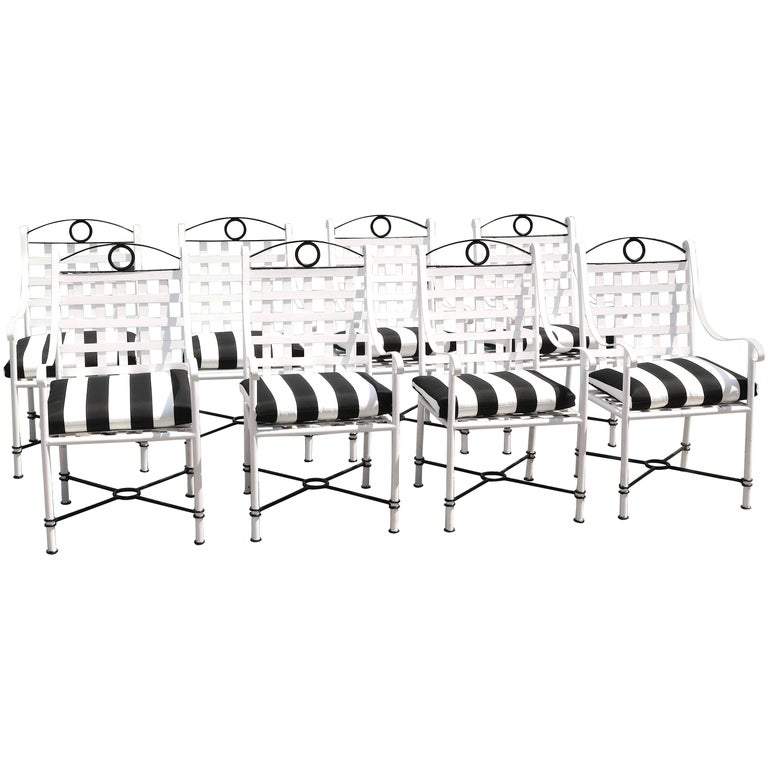 Stunning Set of Eight Iron Black and White Garden Armchairs Parzinger Style