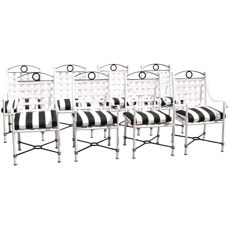 Stunning Set of Eight Iron Dining Armchairs Parzinger Style