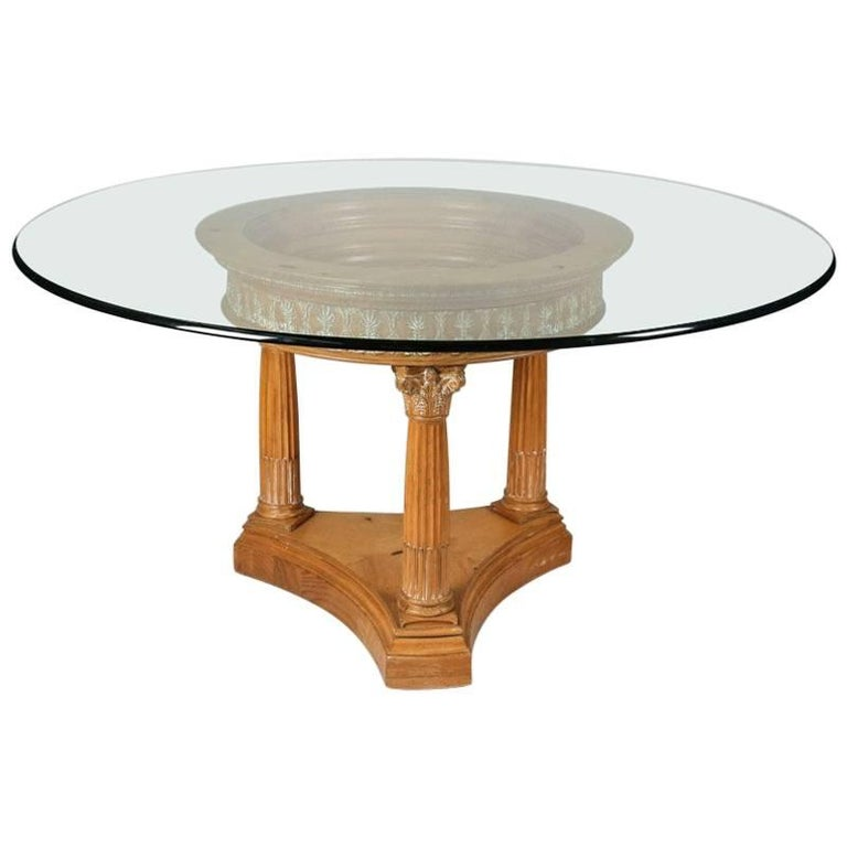 Classical White Washed Corinthian Column Glass Top Dining