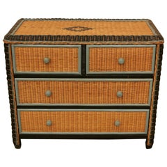 Mid-Century Modern Rattan Chest of Drawers