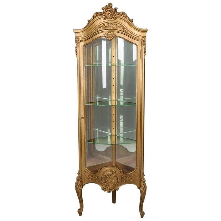 French Louis XVI Giltwood and Mirror Back Petite Corner Vitrine