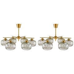 Pair of Swedish Chandeliers in Brass and Glass by Holger Johansson