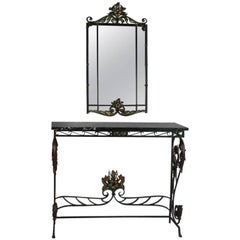 Spanish Acanthus and Floral Iron and Marble Console Table with Parclose Mirror
