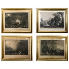 """The Voyage of Life"" Series of by Thomas Cole, Etching Prints in Original Frames"