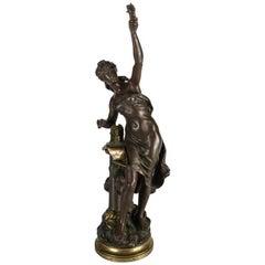Antique French Figural Bronze Sculpture La Science by Moreau, 19th Century