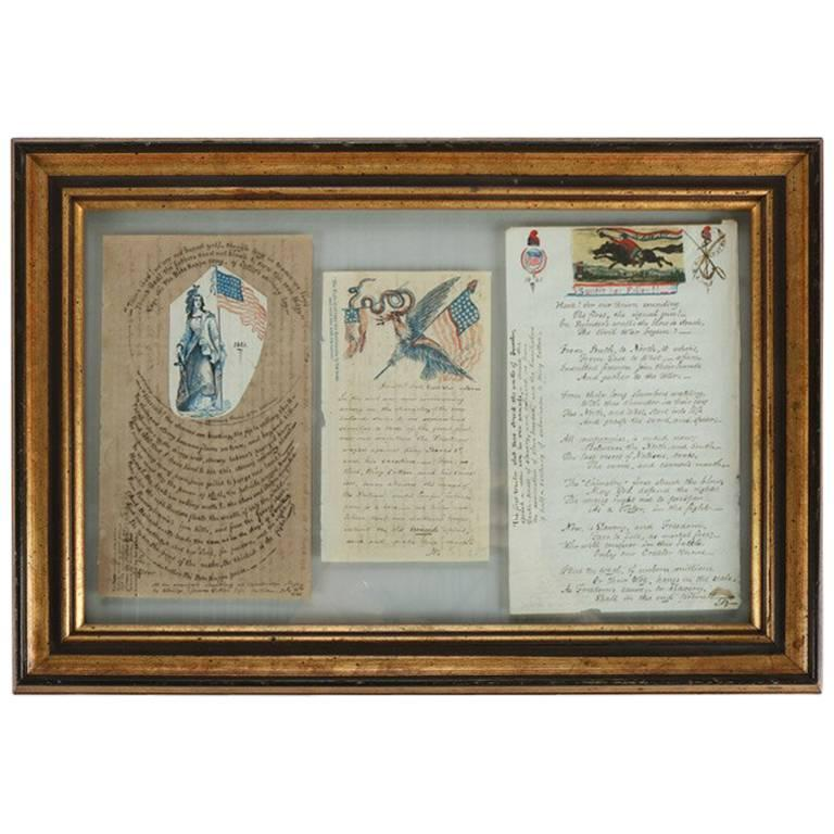 Collection of Antique Civil War Letters in Dual Sided Frame, 19th Century 1