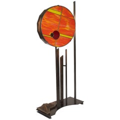 Dear Mr Fantasy Floor Lamp Stained Glass Led Patinated Steel and Bronze