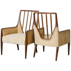 Pair of High Back Walnut Lounge Chairs in the Style of T.H. Robsjohn Gibbings