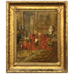"19th Century Interior Painting of Cardinals ""In Discussion"""