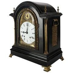 Antique English Tiffany & Co. Ebonized and Ormolu Bracket Clock, 19th Century