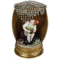 Antique Meissen School Figural Porcelain Gilt Boudoir Lamp, Shoemaker