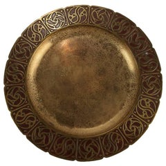 Antique Tiffany Studios New York Bronze & Enameled Tray with Stylized Floral Rim