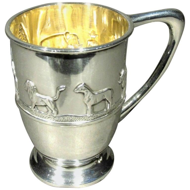 Sterling Silver Arts & Crafts 'Noah's Ark' Christening Mug, Sheffield 1896 For Sale