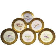 Six Hand-Painted Lenox Porcelain Cabinet Plates by E.A DeLan for Tiffany & Co.