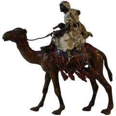Franz Xaver Bergman Cold Painted Arab on Horse Bronze Sculpture