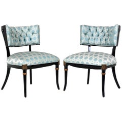 Pair of Midcentury Regency-Style Ebonized Lounge Chairs