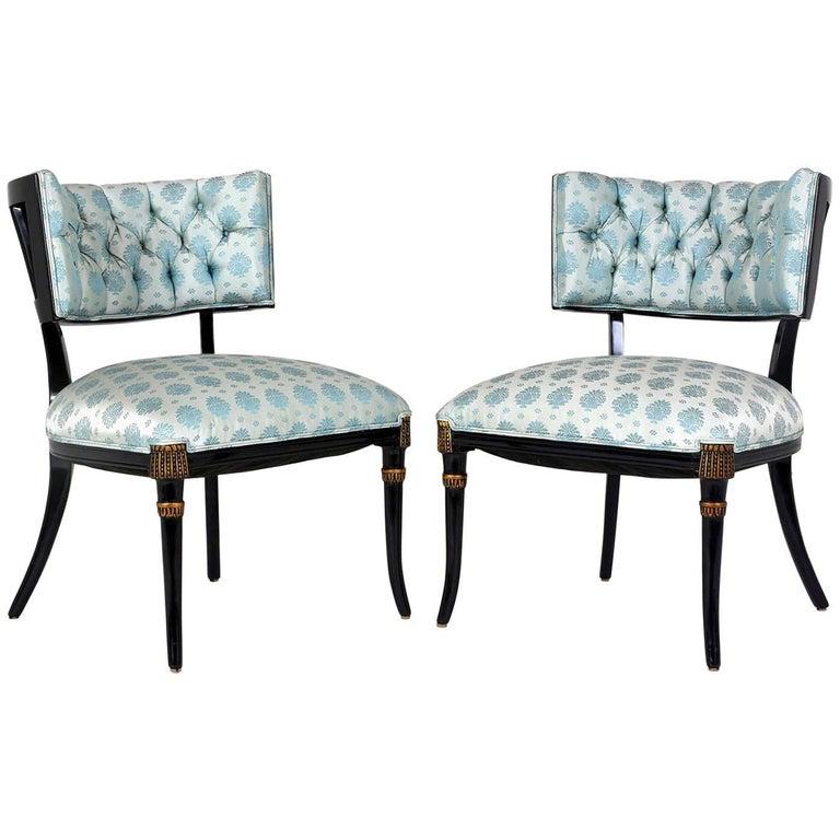 Pair of Midcentury Regency-Style Ebonized Lounge Chairs