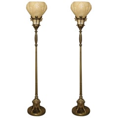 Pair of Art Deco Torchiere Floor Lamps